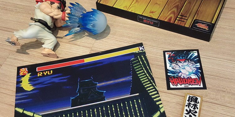 Everything laid out, including a Ryu trading card